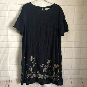Ann Taylor LOFT Navy Blue Embroidered Midi Dress